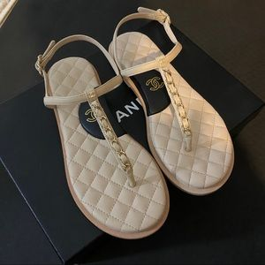Chanel Chain Thong Sandals 36